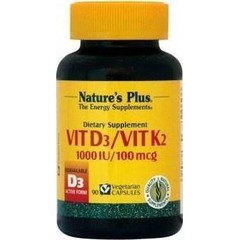 Natures Plus Vitamin D3 1000iu & Vitamin K2 ,90 φυτικές κάψουλες