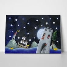 Acrylic illustration dwarfs land castle night 1126079111 a