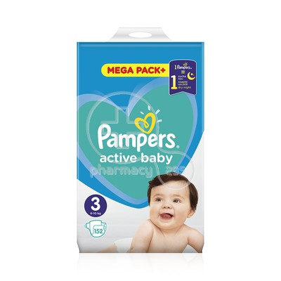 PAMPERS - MEGA PACK+ Active Baby Νο3 (6-10kg) - 152 πάνες