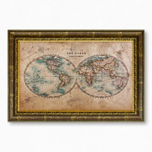 Old stained world map 1800 393 49  65x40