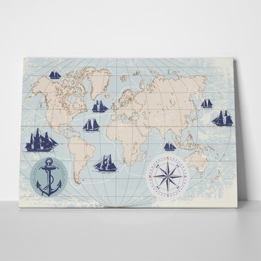 Rectangular Canvas Print NAUTICAL WORLD MAP WITH COMPASS - Sticky