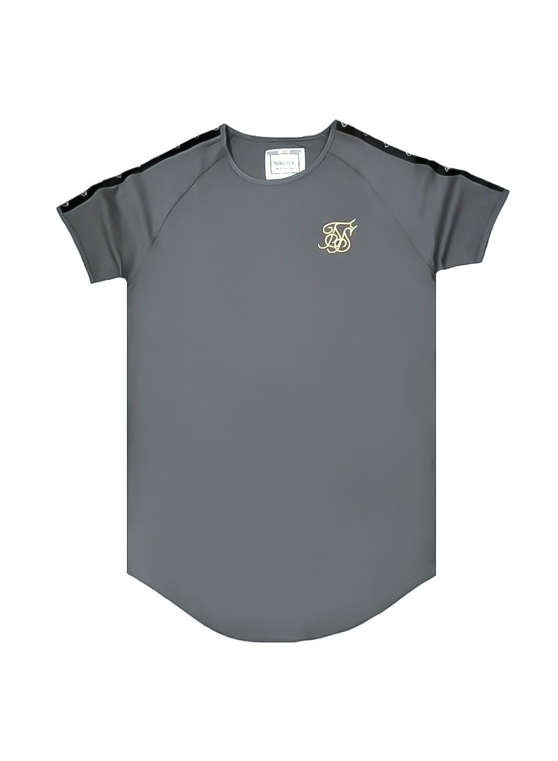 SikSilk  S/S Raglan Tape Gym Tee – Cement