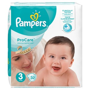 PAMPERS ProCare premium protection N3 πάνα για μωρά από 5 έως 9 κιλά 32τεμάχια