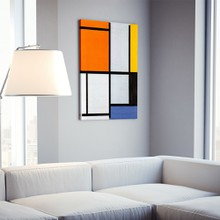 Mondrian   tableau 3 with orange red yellow black blue and gray