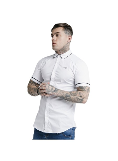 SikSilk S/S Piping Inset Cuff Shirt - White
