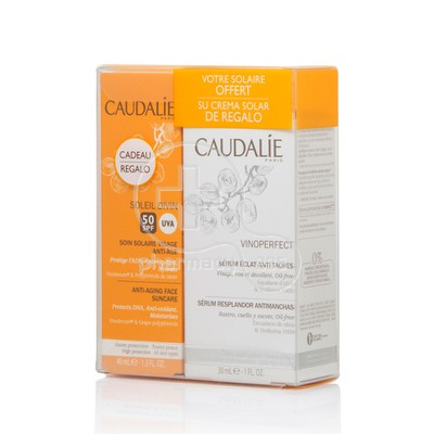 CAUDALIE - PROMO PACK VINOPERFECT Sérum Eclat Anti-Taches (30ml) ΜΕ ΔΩΡΟ SOLEIL DIVIN Soin Solaire Visage Anti âge SPF50 (40ml)