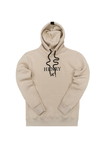 HENRY CLOTHING BEIGE HOODIE WITH CENTER LOGO
