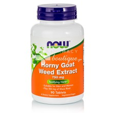 Now Horny Goat Weed Extract 750mg - Στυτική Δυσλειτουργία, 90 tabs