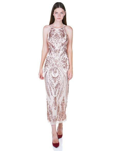 6520650c7f02 Midi nude dress with sequines - Toi moi
