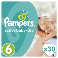 Pampers Active Baby Dry No6 (Extra Large) 30 Πάνες 15+kg