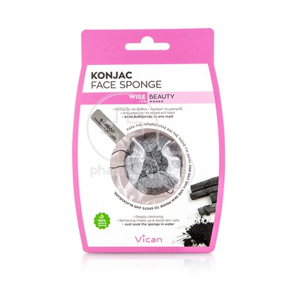 VICAN - KONJAC Face Sponge with Bamboo Charcoal Powder - 1τεμ.