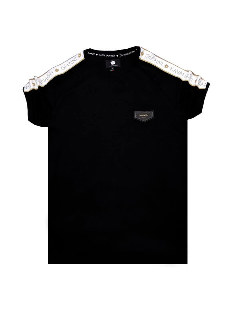 Gianni Kavanagh Black Raglan Tee With White/Gold Ribbon