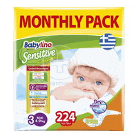BABYLINO - MONTHLY PACK Babylino Sensitive Midi No3 (4-9 Kg) - 224 πάνες