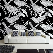 Bird branch black white a