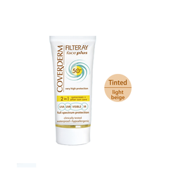 Coverderm Filteray Face Plus SPF50 Oily/Acneic Tinted Αντηλιακή Κρέμα Προσώπου & After Sun (2σε1) για Λιπαρές/Ακνεϊκές Επιδερμίδες, Απόχρωση Light Beige, Για 3 τύπους ηλιακής ακτινοβολίας, UVA, UVB και IR, 50ml