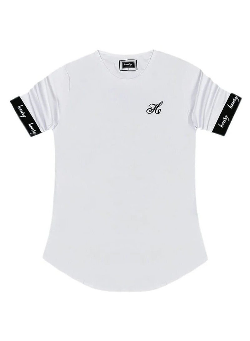 HENRY CLOTHING WHITE T-SHIRT WITH ELASTICATED SLEEVES