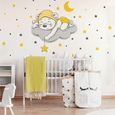 Cute dreaming bear cartoon  yellow  web