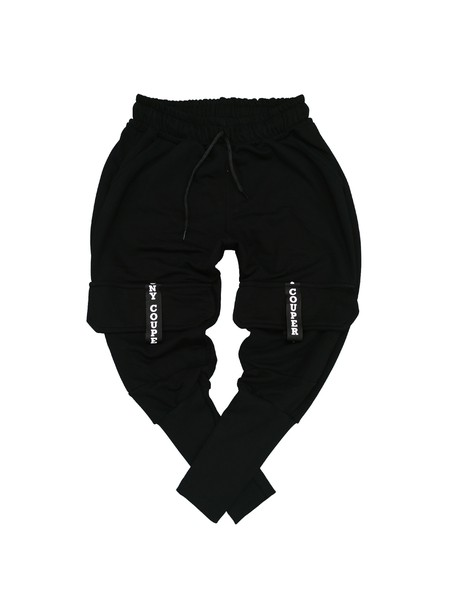 TONY COUPER BLACK CARGO TRACKPANTS