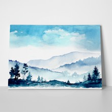 Watercolor mountains blue skies 286751972 a