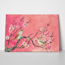 Birds on japanese apricot sunset watercolor 557082874 a