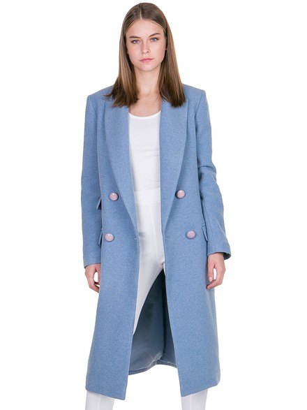 Cross over coat with special buttons