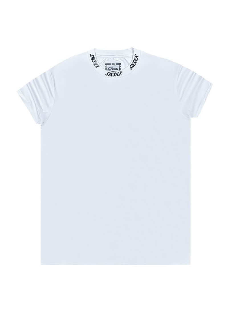 SikSilk S/S High Collar Logo Tee - White
