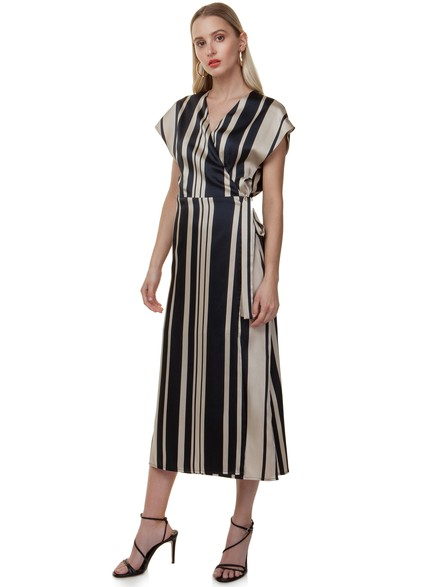 Wrap striped dress
