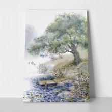 Watercolor landscape path quiet lake mist 101302288 a