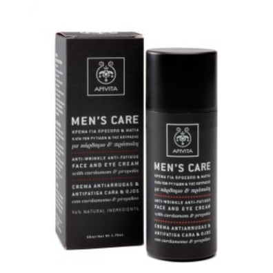 Apivita men s care anti wrinkle anti fatigue face   eye cream with cardamom   propolis 50ml
