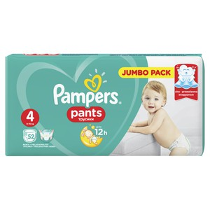 PAMPERS Pants up to 12h N4 9-15kg Jumbo pack 52τεμάχια