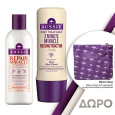 Aussie Repair Miracle Conditioner Μαλακτική Κρέμα Μαλλιών 250ml + 3 Minute Miracle Reconstructor Εντατική Μάσκα Μαλλιών 250ml.