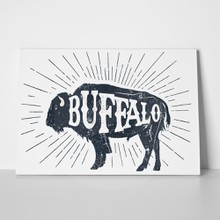 Hand drawn label textured buffalo 582830686 a
