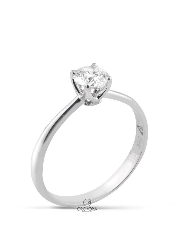 Solitaire Ring White Gold K18 with Diamond 0,51ct