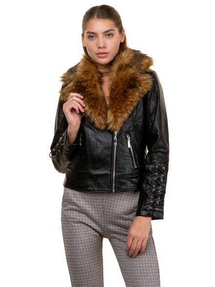 Leather effect jacket with faux fur