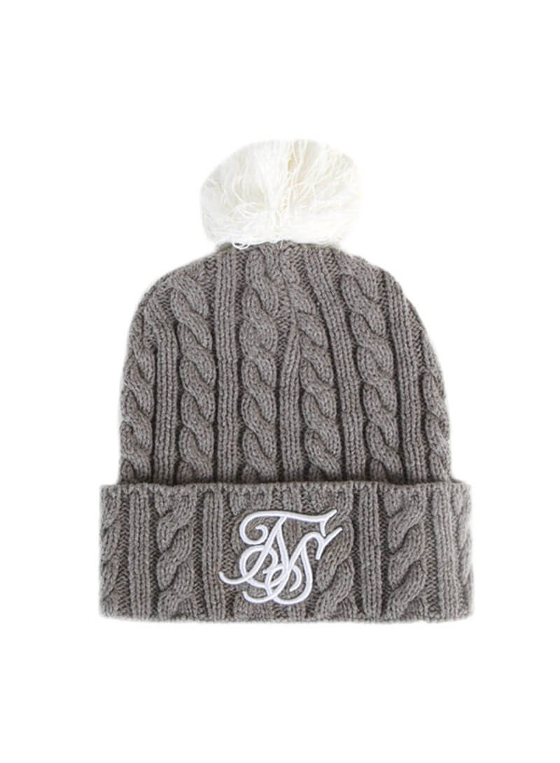 SikSilk Cable Bobble Hat - Marl & White