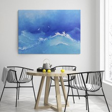 Waves and seagulls painting