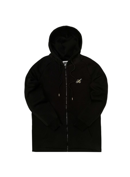 HENRY CLOTHING BLACK NYLON PANEL ZIP THROUGH HOODIE