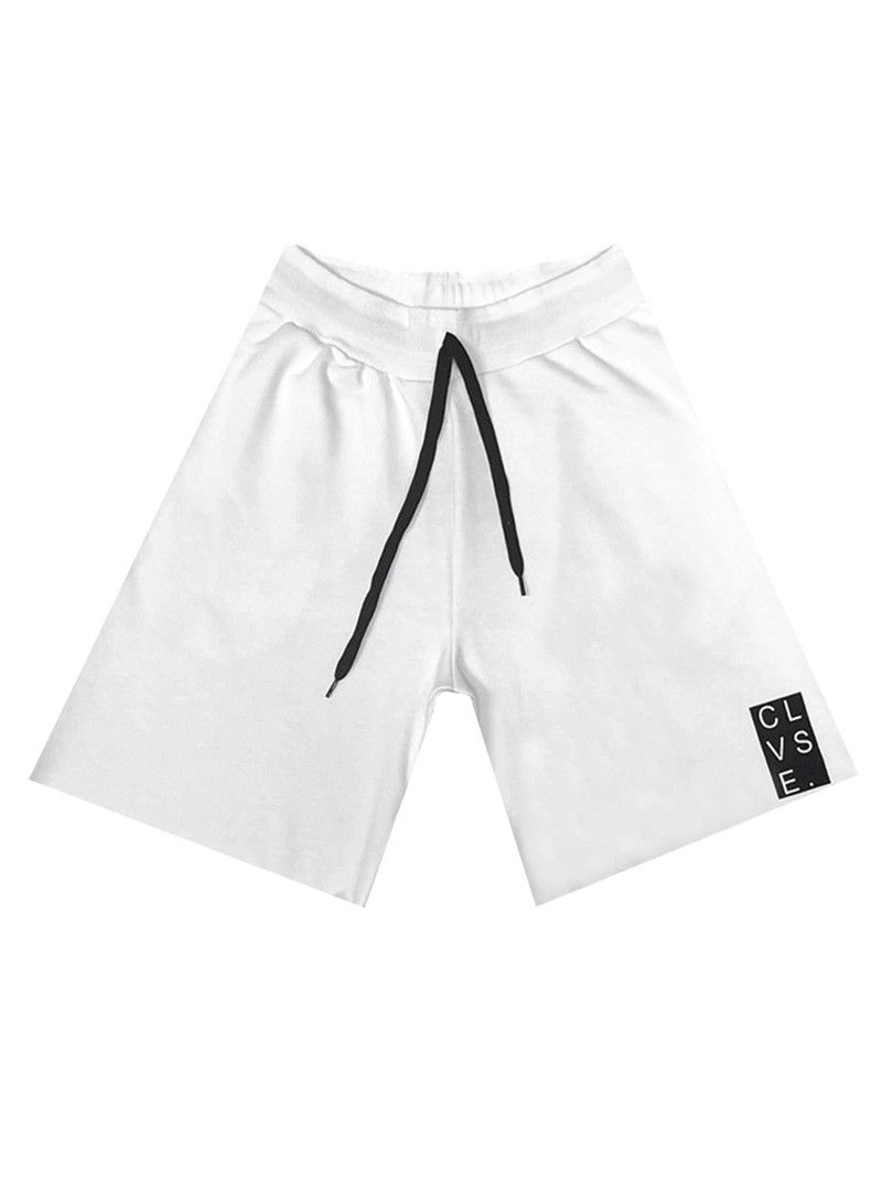 CLVSE SOCIETY WHITE LOGO SHORTS