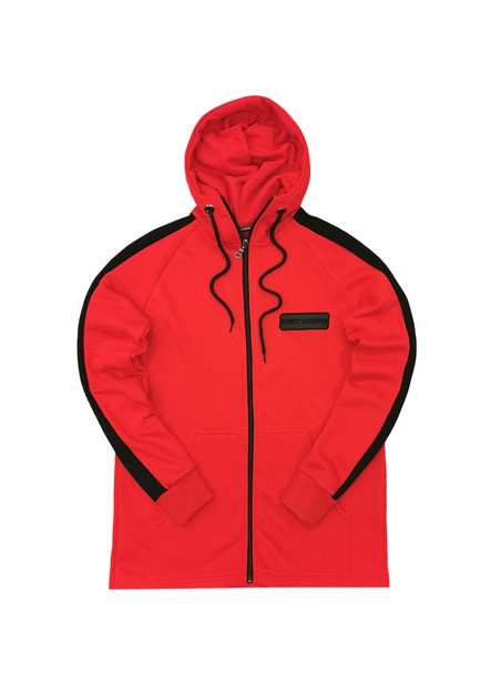 TONY COUPER RED ZIP THROUGH HOODIE