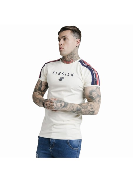 SikSilk S/S Raglan Retro Tape Gym Tee - Off White