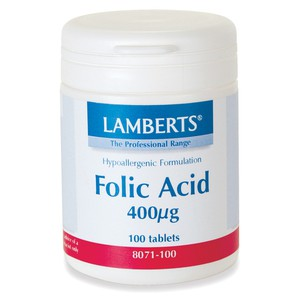 Lamberts folic acid 400mg 100s