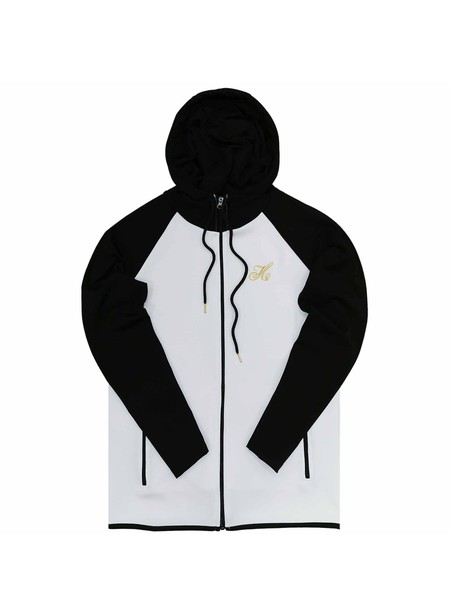 HENRY CLOTHING WHITE WITH BLACK SLEEVES ZIP THROUGH HOODIE