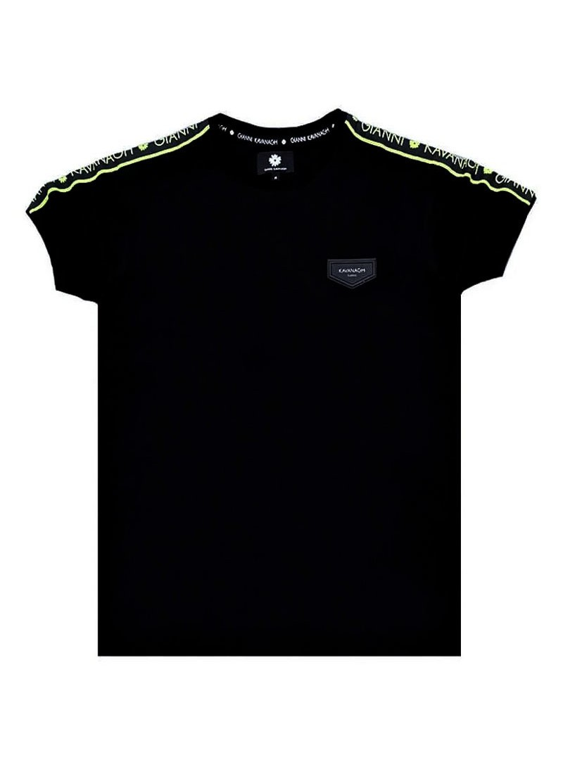 Gianni Kavanagh Black Tee With Neon Yellow Ribbon