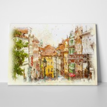 Old prague streets watercolor 34374895 a