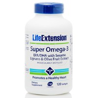 LIFE EXTENSION - SUPER OMEGA-3 EPA/DHA with Sesame Lignans and Olive Fruit Extract - 120 softgels