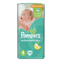 PAMPERS - Active Baby Dry No4 (8-14kg) - 58 πάνες