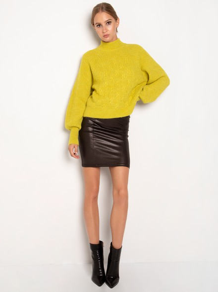 Elastic faux leather skirt