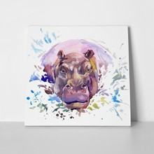 Hippopotamus illustration splash watercolor 294673661 a