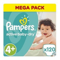 Pampers Active Baby Dry No4+ 120 Πάνες 9-16kg