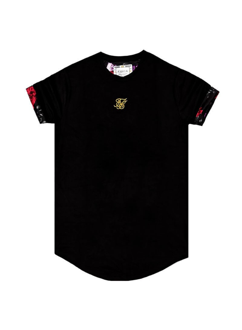SikSilk S/S Roll Sleeve Tee – Black & Oil Paint